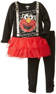 Sesame Street Little Girls  Elmo 2 Piece Long Sleeve Tee Legging Set. Cute  gift bbb2b08cd