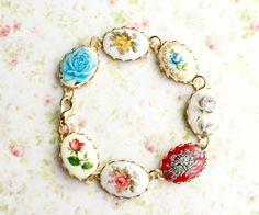 Vintage Rose Cameo Bracelet. Bohemian. Nostalgic. Whimsical. Autumn. Fall. Boho Chic. Fashion. Romance. Bridesmaids Bracelet. Cameo Jewelry. $35.00, via Etsy.