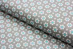 Stoff grafische Muster - Baumwolle kleine Blümchen mint/taupe  - 0,5m - ein Designerstück von Brittschens bei DaWanda