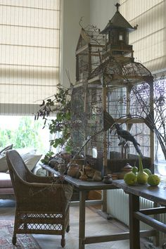 Large and beautiful birdcage on wood table