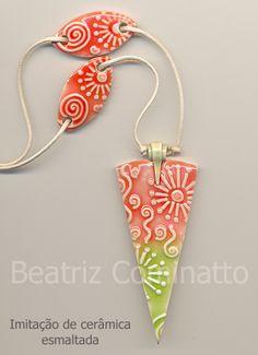 Imitação de cerâmica esmaltada feita com cerâmica plástica (polymer clay) by Beatriz Cominatto, via Flickr
