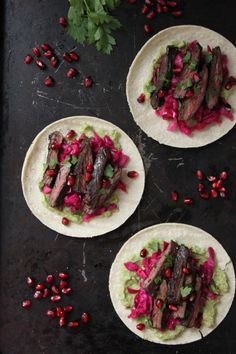 Pomegranate Glazed Skirt Steak Tacos with Pickled Red Cabbage and Spicy Guacamole | TheCornerKitchenBlog.com #recipe #tacos