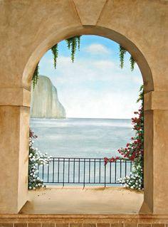 Trompe Loeil Murals | Trompe l oeil mural Island of Capri, Italy