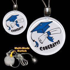 Graduation LED Necklace: your and light up your guests with our Congrats Grad light up TFDWG-IBZFB Cap Decorations, Promote Your Business, Graduation Ideas, Light Up, Flask, Promotion, Identity, Led