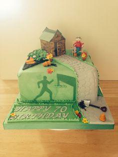 Sports Loving Gardener 70th Birthday Cake