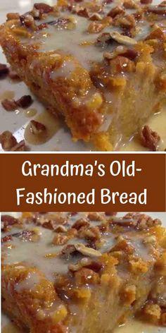 Grandma's Old-Fashioned Bread Pudding with Vanilla Sauce – Daily Recipes Omas altmodischer Brotpudding mit Vanillesauce – Tägliche Rezepte – Bread Recipes, Cake Recipes, Dessert Recipes, Cooking Recipes, Best Bread Pudding Recipe, Raisin Pudding Recipe, Easy Bread Pudding, Old Fashion Bread Pudding Recipe, Bread Pudding Recipe With Vanilla Sauce