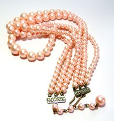 vintage faint pearl pink three strands stranded by Edismiles, $16.00