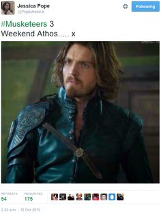 The Musketeers - Series III BtS filming via Jessica Pope's Twitter (Athos)