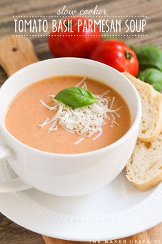 Slow cooker tomato basil parmesan soup - so easy to make and tastes delicious!