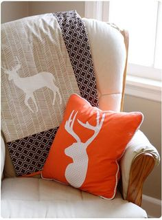 Colorful DIY Woodland Accent Pillow and Blanket - #nursery