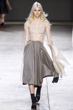 Topshop Unique Ready to Wear Fall/Winter 14/15 Sheer Embroidered Top and Flowy Skirt