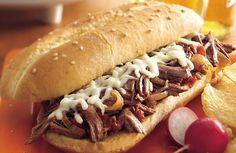 ITALIAN SHREDDED BEEF HOAGIES *Crock Pot / Slow Cooker http://www.bettycrocker.com/recipes/slow-cooker-italian-shredded-beef-hoagies/75f7b3f2-dfb0-4b80-a24b-445c5e73e889