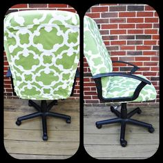 DIY Computer Chair Reupholster Project. I actually have this as a shower curtain. ha
