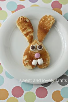 Easter Bunny Pancakes!  Just cut a heart in half for the ears and add whatever you have on hand to make a cute face.