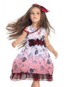 This Red Floral Chiffon Dress - Toddler & Girls is perfect! #zulilyfinds