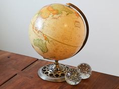 Vintage World Globe Sepia Brown Antique Cram's 12