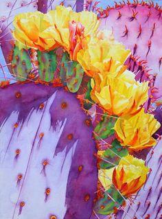 Cheryl Brajner Weinfurtner original watercolor paintings of the Desert Southwest - royal flush - santa rita prickly pear blooming - watercolour - cheryl weinfurtner Watercolor Succulents, Watercolor Cactus, Watercolor Paintings, Acrylic Paintings, Original Paintings, Cactus Painting, Cactus Art, Cactus Plants, Art Floral