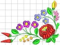 Kalocsai hímzésminta 322 Hand Embroidery Designs, Embroidery Patterns, Chain Stitch, Cross Stitch, Hungarian Embroidery, Handicraft, Folk Art, Needlework, Stencils