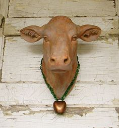 Faux Cow Head Taxidermy Animal Fake Rustic Wall Decor French