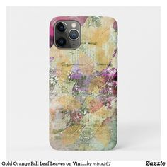 Gold Orange Fall Leaf Leaves on Vintage Decoupage Case-Mate iPhone Case Unique Iphone Cases, Iphone 11 Pro Case, New Iphone, Apple Iphone, Artwork Design, Green And Purple, Plastic Case, Autumn Leaves, Decoupage