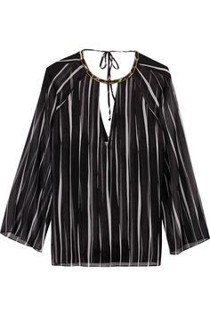 HALSTON HERITAGE Embellished striped georgette blouse. #halstonheritage #cloth #blouse