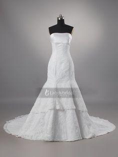 ランディブライダル ウェディングドレス マーメイド ビスチェ ホワイト レース ビーズ 結婚式 チュール コートトレーン H5lblb2962