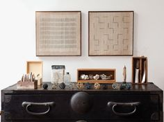 Kay Sekimachi wall hangings, Homage to A.M. (Agnes Martin) and Homage to P.K. (Paul Klee)