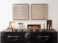 art in kay sekimachi's studio (photo by leslie williamson) #birchandlittle #quirky #quaint