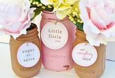 Baby Shower Centerpiece, Sugar and Spice Baby Shower Decor Pink and Brown Decorations Polka Dots Little Girls - Painted Mason Jar Vase Set
