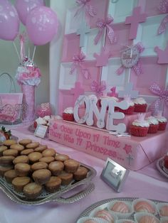 princess tablescapes | PINK PRINCESS 1st Birthday & Baptism Dessert Tablescape ... | Party I ...