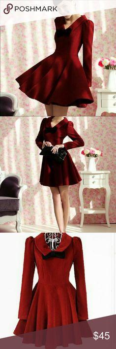 Beautiful elegant deep red perfect for holidays Collared, has zipper, dark red , designed by Dabuwawa/Chun Mei Na Chun Mei Na Dresses Midi