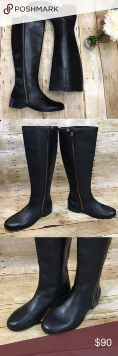 "[J Crew] Harper Black Leather Riding Boots 6.5 J Crew ""Harper"" black leather riding boots with gold zipper and snap closure details. Size 6.5. Excellent condition, very minor scratches in leather as pictured (hard to see unless examining in certain lighting). 1"" heel. Retailed new for $328 J. Crew Shoes Winter & Rain Boots"