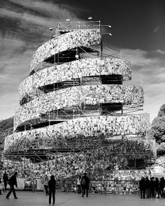 Spiral tower made of books. By Argentinean pop artist Marta Minujin.