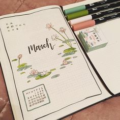 Bullet journal monthly cover page, March cover page, flower drawings. | @ladyembur