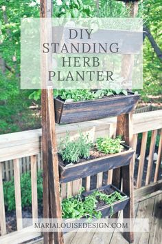 I've been dying to have a vertical herb garden. Here's a tutorial on how we managed to put together and inexpensive DIY standing planter for our deck. Herb Garden Planter, Herb Garden Pallet, Deck Planters, Diy Herb Garden, Herb Garden Design, Balcony Garden, Garden Beds, Garden Art, Vertical Herb Gardens