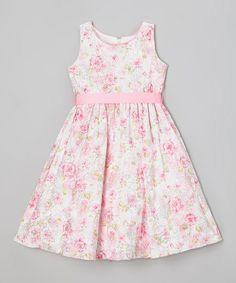 Pink Floral A-Line Dress - Toddler & Girls