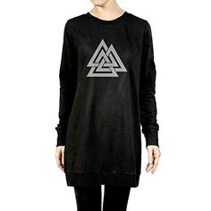 Womens Valknut Odin Symbol Of Norse Viking Warriors Tunic Pullover Hoodie * Details can be found by clicking on the image.