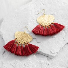One of my favorite discoveries at WorldMarket.com: Gold and Red Tassel Earrings