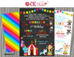 Circus or Carnival Birthday Party Invite - Rainbow Girl or Rainbow Boy Colors by ckfireboots on Etsy
