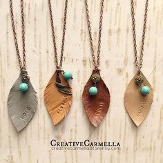 All hand cut and hand stamped, these leather leaf pendant necklaces are perfect for layering with your favorite fall outfit. The leaf pendants each measure 3 inches long and the pendant and charms are all attached to a long 26 inch antiqued copper chain. {if you need a shorter chain, just b...