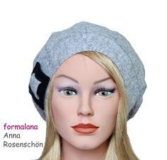 Beaniemützen - Beanie Mütze grau Schnalle Wolle vintage retro - ein Designerstück von formalana bei DaWanda