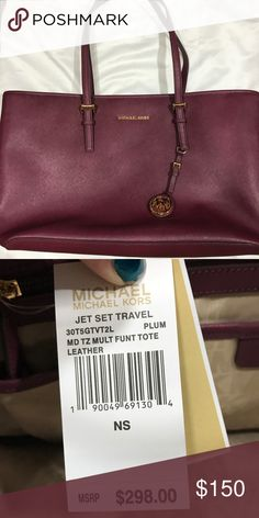 0afaeff8dab8 Michael Kors plum tote bag Plum tote bag from MK I purchased last year for  gal