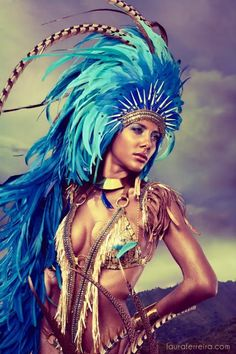 Blue Aztec Headdress - Blue Rooster Tail Feathers.  To The Runway. Photography by Laura Ferreira. Anya Ayoung-Chee design for Trinidad Carnival