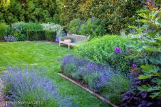 Most of the flowers in the blue garden bloom in shades of blue, lavender or purple.