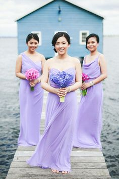 Lilac/lavender/purple bridesmaid dresses. The Wedding Scoop Spotlight: 8 Bridesmaid Dress Trends We Love #bridesmaid #bridesmaids #radiantorchid