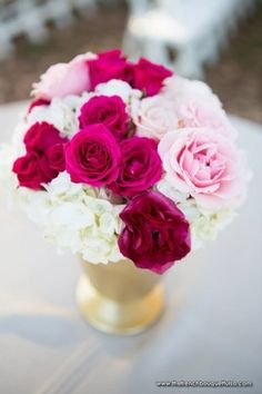Fuchsia and Light Pink Centerpiece - The French Bouquet - C.C. Miller Photography - Farthing Events