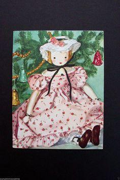 I 39 Vintage Telka Ackley Xmas Greeting Card Pretty Doll IN Shabby Pink Rose