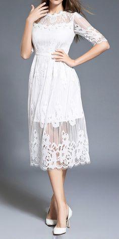 10163c00d4 Elegant Half Sleeve Midi Lace Dress - OASAP.com