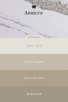 What paint colors should you choose with your kitchen countertops? Annicca™ from Cambria quartz pairs beautifully with greige paints and offers an elegant marble look with gray veining, hints of gold, and purple sparkle.