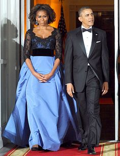 Blue beauty! Michelle Obama wears Carolina Herrera at the state dinner in Washington, D.C. on Feb. 11